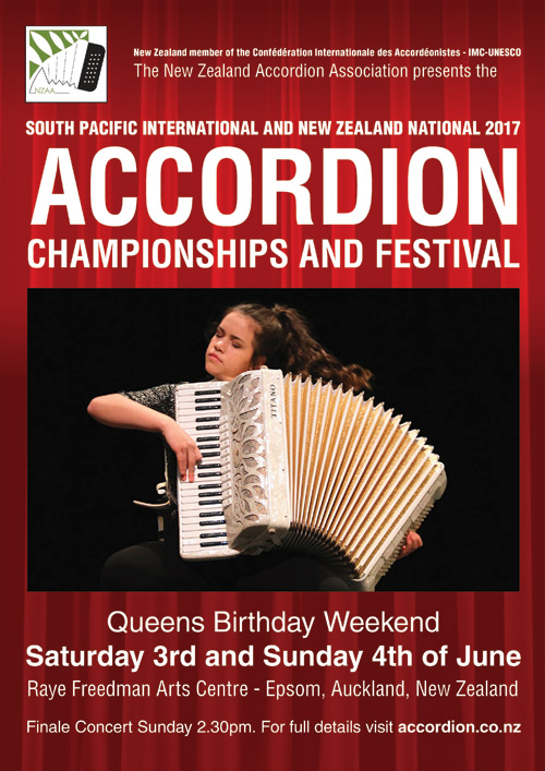 South Pacific International and New Zealand National 2015 Accordion Championships poster